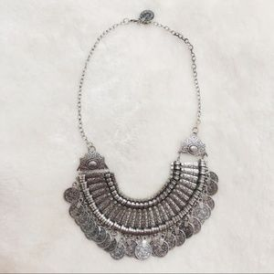 Silver boho coin statement necklace